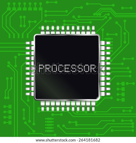 Processor with electronic circuit board background. Raster version - stock photo
