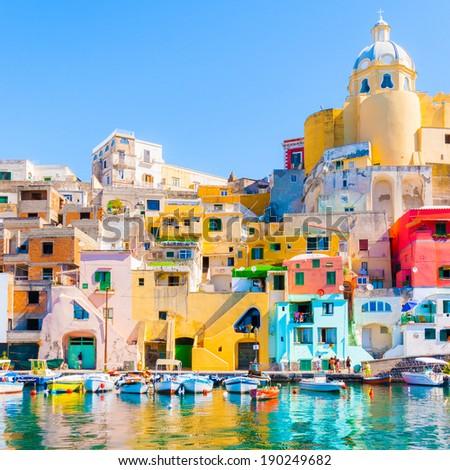 Procida, colorful island in the mediterranean sea coast, Naples, Italy - stock photo