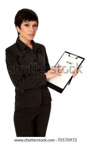 Procurator examines in details the  evidence reported by detective - stock photo