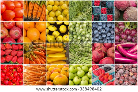 Produce collage of popular fruits and vegetables in the pattern of a rainbow - stock photo