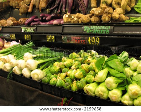 Produce isle at market - stock photo
