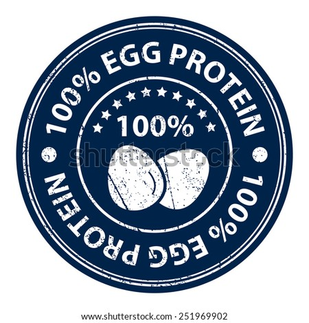 Product Information Material or Ingredient, Blue Circle 100 Percent Egg Protein Grunge Sticker, Rubber Stamp, Icon, Tag or Label Isolated on White Background - stock photo