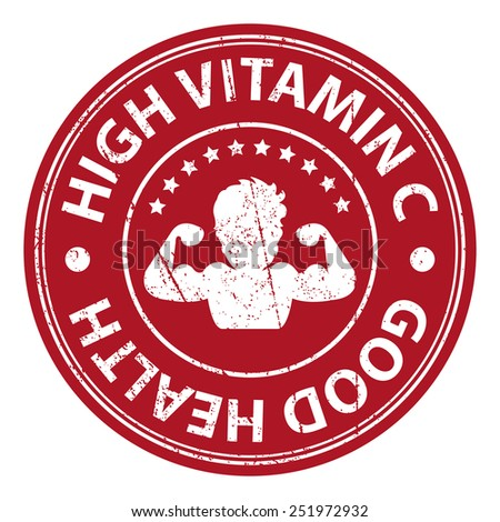 Product Information Material or Ingredient, Red Circle High Vitamin C Good Health Grunge Sticker, Rubber Stamp, Icon, Tag or Label Isolated on White Background - stock photo