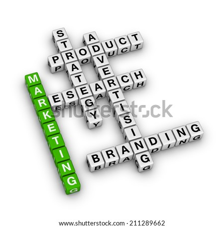 product marketing (green-white crossword series) - stock photo