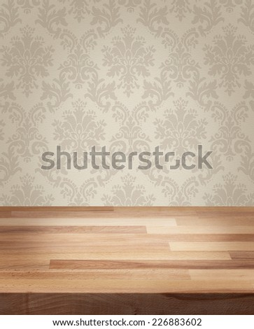 Product photo template wooden table damask wall background - stock photo