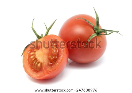 Product photography is newly harvested tomatoes on white background