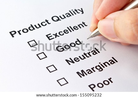 product quality evaluation isolated over white background  - stock photo