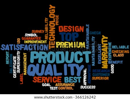 Product Quality, word cloud concept on black background.