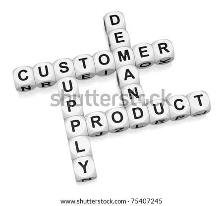Product retail cycle crossword on white background 3d render