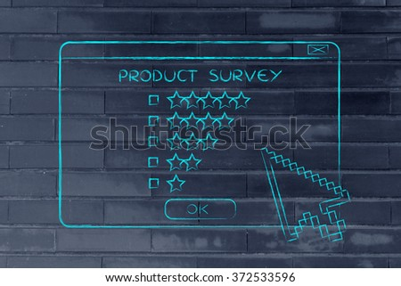 product survey: pop-up window with cursors and star ratings