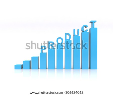 Product text on growth chart. - stock photo