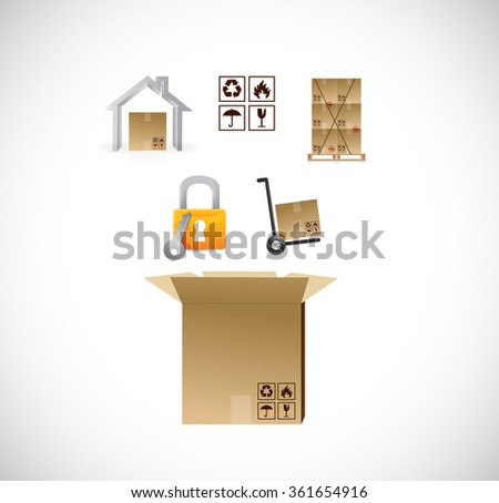 product transportation icons coming from a box. illustration design graphic