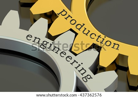 production engineering concept on the gearwheels, 3D rendering - stock photo