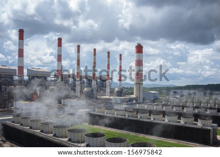 Production line in thermal power plant. - stock photo