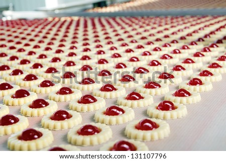 Production of biscuits - stock photo