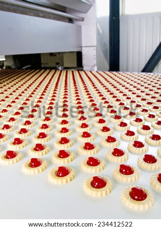 Production of biscuits, Biscuit factory - stock photo