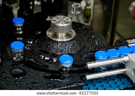 Production of medicines, part of washing machine - stock photo