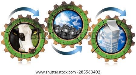 Production of Milk - Processing Concept / Three wooden gears with head of cow, steel cans for milk and white packaging carton of milk. Concept of the milk processing