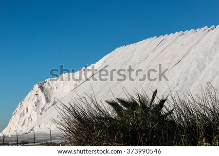 Production of natural salt mountain in Chula Vista, California.  - stock photo