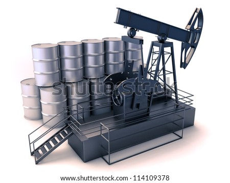 Production of oil: oil rig and barrels on a white background