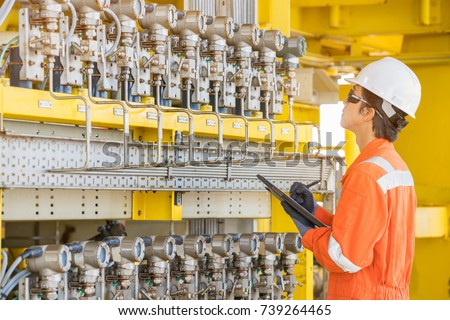 Production Operator Log Record Pressure Reading Stock Photo ...