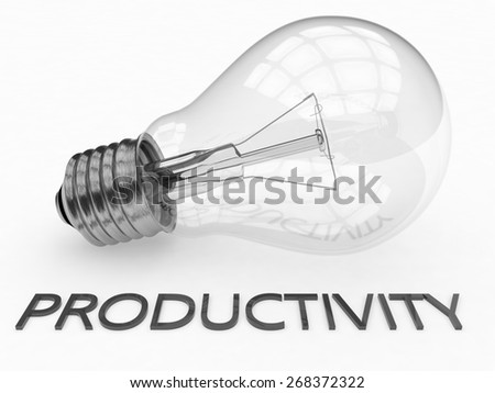 Productivity - lightbulb on white background with text under it. 3d render illustration. - stock photo