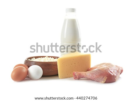Products containing proteins and fats, isolated on white - stock photo