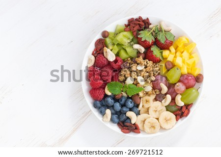 products for a healthy breakfast - berries, fruit and cereal on the plate, top view, horizontal - stock photo