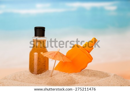 Products for relaxing on the beach in the sand - stock photo