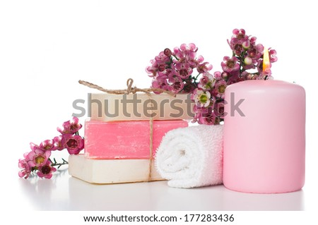 Pink candle stock images royalty free images vectors shutterstock products for spa towel candle white and pink handmade soap and pink cherry sciox Images