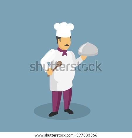 Profession cooks character design flat. Profession and cook, professional cooks, kitchen culinary, chef man in uniform, cooking and restaurant chef,  job person chef, character chef illustration - stock photo