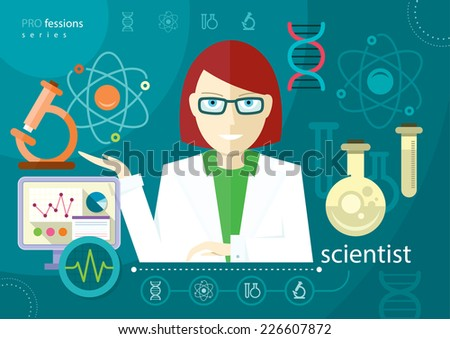 Profession scientist with icon elements of laboratory test tubes microscope analysis of molecule flat design cartoon style. Raster version - stock photo