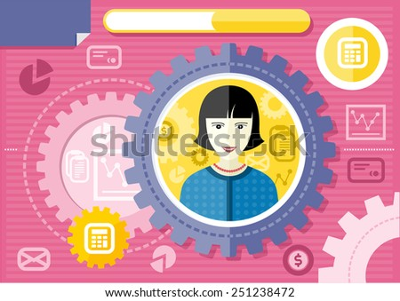Profession series concept for banking personnel with smiling female accountant in formal wear and necklace in circle frame on pink with financial icons background. Raster version - stock photo