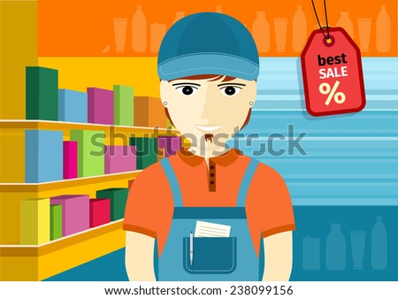 Profession series with young man sales assistant, merchandiser with stylish beard standing in front of supermarket shelves with goods. Raster version - stock photo