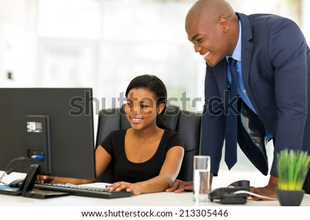 professional african businesspeople working on computer - stock photo