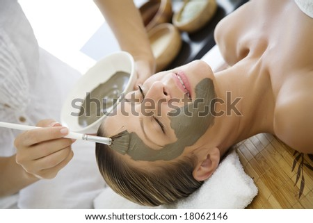 professional applying mud mask to female client - stock photo