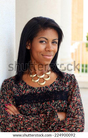 Professional Attractive African American Business Person Woman With Black Hair Arms Crossed Smiling - stock photo