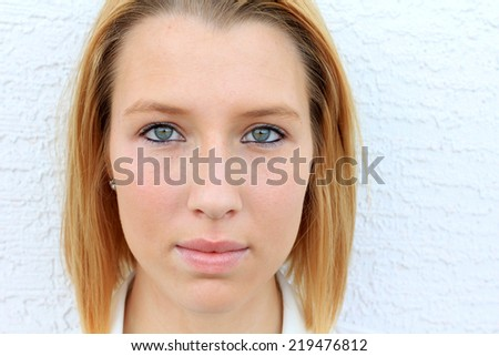 Professional Attractive Blonde Business Woman Looking Serious  - stock photo