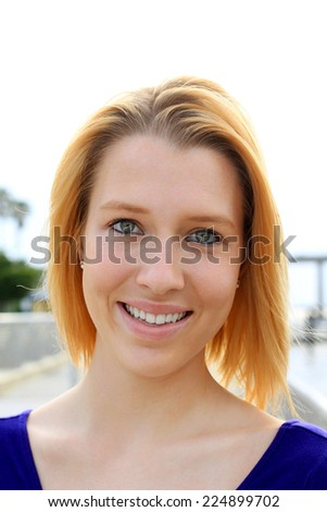 Professional Attractive Business Person Blonde Teenager Smiling  - stock photo