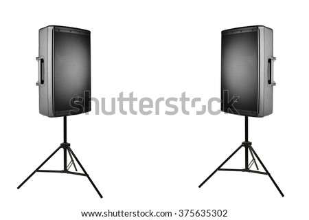 professional audio speakers PA on the tripods, isolated on white - stock photo