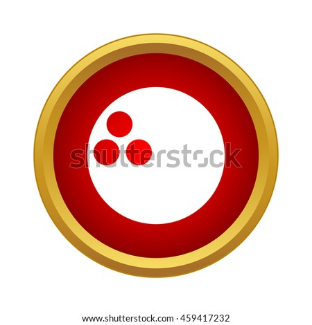 Professional bowling ball icon in simple style in red circle. Sport symbol - stock photo