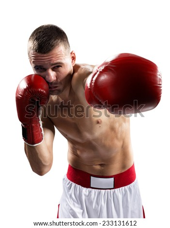 professional boxer are fighthing isolated in white - stock photo