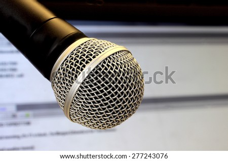 Professional broadcast microphone - stock photo