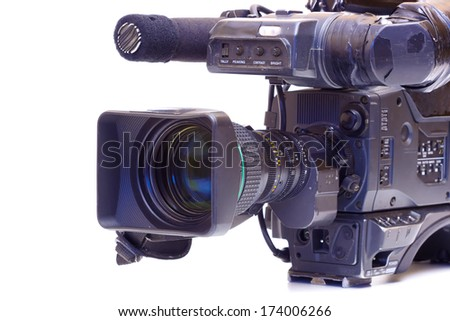 Professional broadcast video camera isolated on white background,photography ; Broadcast video camera  - stock photo