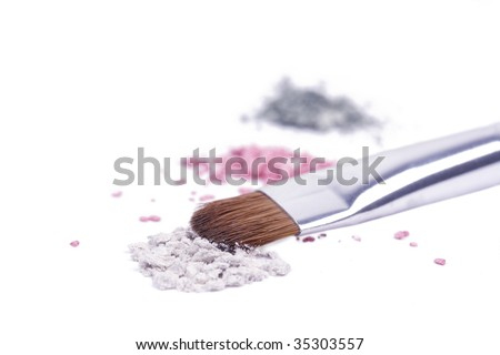 Professional brush for make-up on broken shadows - stock photo