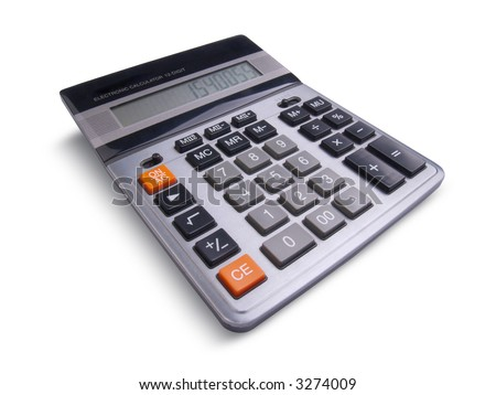 Professional business calculator isolated on white background