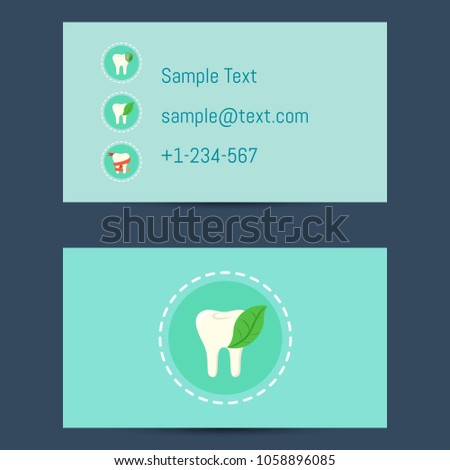 Professional business card template dentists round stock professional business card template for dentists with round tooth icon on blue background illustration cheaphphosting Gallery
