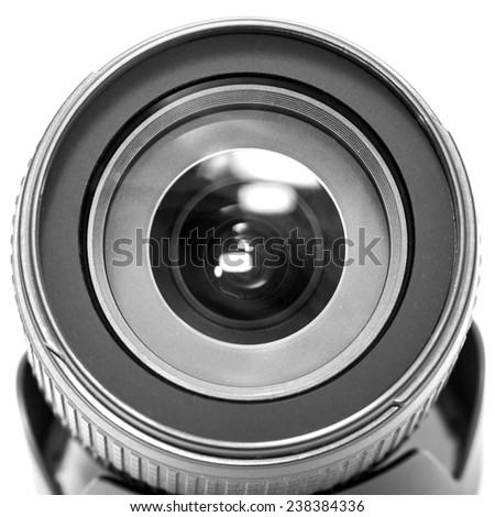 Professional camera lens. B&W - stock photo