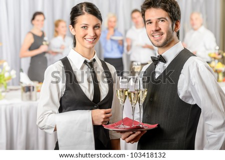 Professional catering service business event serving drinks to guests - stock photo