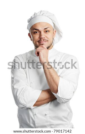 professional chef in white uniform and hat isolated - stock photo